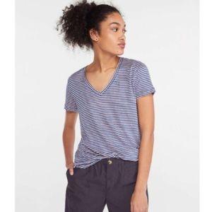 Lou & Grey Navy Striped Linen Shirttail V-Neck Top